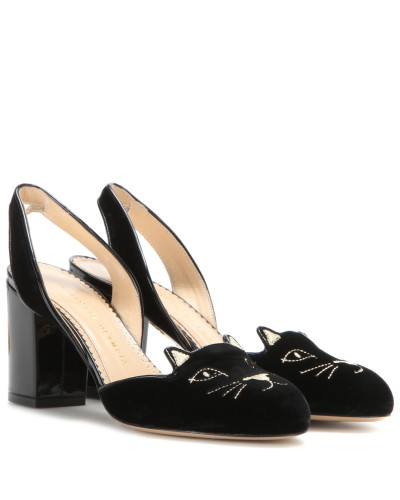 charlotte olympia damen slingback pumps kitty aus samt reduziert. Black Bedroom Furniture Sets. Home Design Ideas