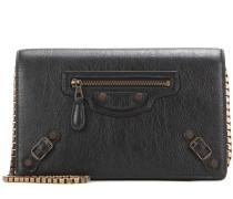 Schultertasche Giant Chain Wallet aus Leder