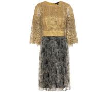Kleid aus bedrucktem Chiffon und Makramee