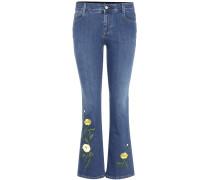 Skinny Jeans Kick Flare mit Stickereien