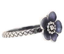 Intrecciato-Ring aus oxidiertem Silber mit Blume