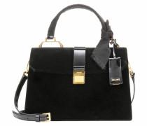 Handtasche aus Samt und Lackleder