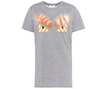 T-Shirt aus Baumwolle mit Pelz