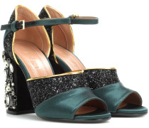 Kristallverzierte Sandalen mit Satin und Glitter