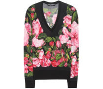 Bedruckter Pullover aus Cashmere und Seide