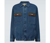 Jeansjacke mit Webstreifen