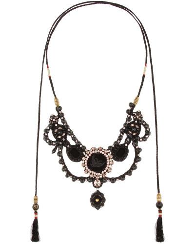 Halskette aus Samt mit Kristallen und Perlen
