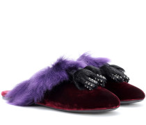 Slippers aus Samt mit Shearling