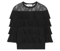 Pullover aus Wolle mit Spitzeneinsatz und Rüschen