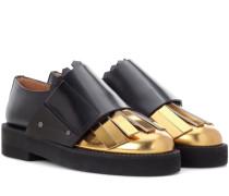 Loafers aus Leder und Metallic-Leder