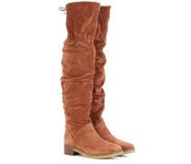 Overknee-Stiefel aus Veloursleder