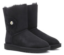 Ankle Boots Baily Button Poppy aus Veloursleder