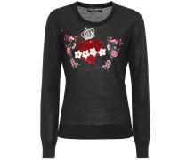 Sweatshirt aus Cashmere mit Verzierungen