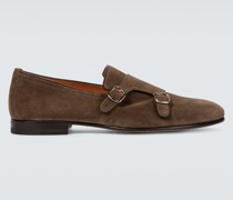 Monkstrap-Loafers aus Veloursleder
