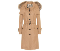 Mantel mit Wollanteil und Pelz