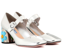 Mary-Jane-Pumps aus Metallic-Leder