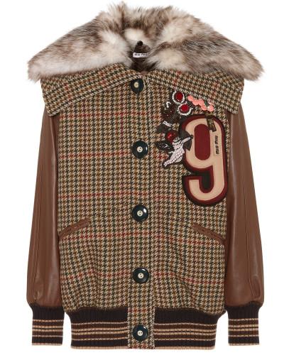 Jacke aus Wolle und Leder mit Fell