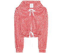 Cropped-Jacke Hoodie aus einem Baumwollgemisch