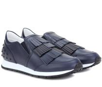 Slip-on-Sneakers aus Leder mit Fransen