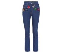 High-Waist Jeans mit Pailletten