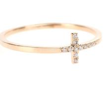 Ring Elongated Bent Cross aus 14kt Roségold mit weißen Diamanten