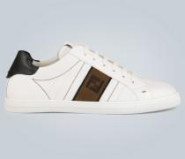 Leder-Sneakers mit Logo-Details