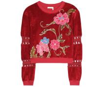 Sweater aus Samt mit Blumen-Print