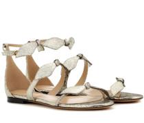 Flache Sandalen aus Metallic-Leder