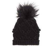 Mütze aus Cashmere mit Fell