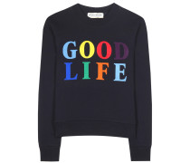 Bedrucktes Sweatshirt Good Life aus Baumwolle
