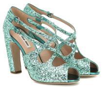 Peeptoe-Sandalen aus Glitter