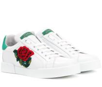 Verzierte Sneakers aus Leder