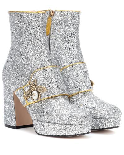 Ankle Boots mit Plateau und Glitter