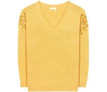 Pullover aus Merinowolle und Cashmere mit Spitze