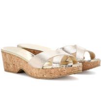 Espadrille-Sandalen aus Metallic-Leder