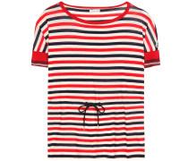 Gestreiftes Baumwoll-T-Shirt mit Bindedetail