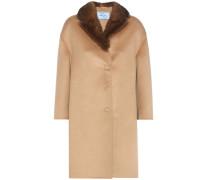 Mantel aus einem Woll-Angoragemisch mit Pelzbesatz