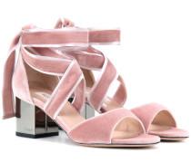 Garavani Sandaletten Rockstud Ballet aus Samt