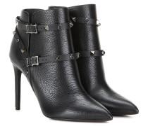 Garavani Ankle Boots Rockstud Rolling Noir aus Leder