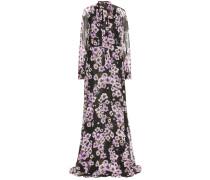 Bodenlanges Kleid aus Seiden-Chiffon mit Print