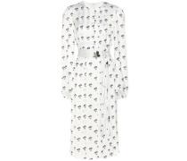 Plissiertes Kleid aus bedrucktem Satin