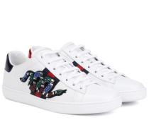 Verzierte Sneakers Ace aus Leder und Schlangenleder