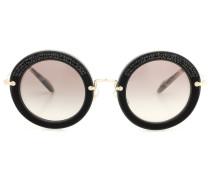 Verzierte Sonnenbrille mit rundem Rahmen