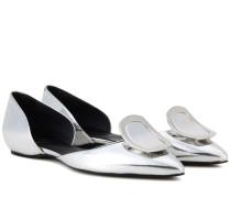 Ballerinas Dorsay aus Metallic-Leder
