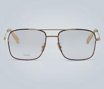 Eckige Brille aus Metall