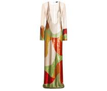 Langes Kleid mit Pailletten und transparenten Einsetzen