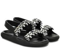 Sandalen aus Leder mit Kristallen