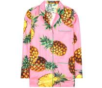 Bluse aus Seidensatin mit Print