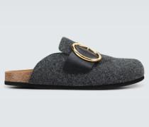 Loafer-Pantoletten mit Zierschnalle