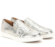 Slip-on-Sneakers aus Metallic-Leder